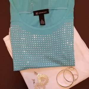 INC Turquoise Short Sleeve Studded T-Shirt XL